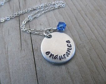 "Endurance Inspiration Necklace- Hand-Stamped ""endurance"" with an accent bead in your choice of colors- Hand-Stamped Necklace"
