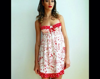 Music note dress, silk charmeuse babydoll dress with red music note print
