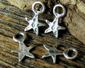 4 Mini Artisan Star Charms in Sterling Silver - Rustic Hammered Texture AP67