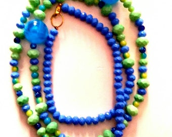 Mediterranean green / blue long necklace/summer/gift for her /free shipping/ready to ship