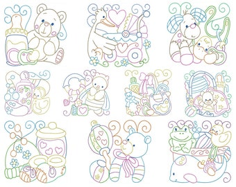 BABY BLOCKS - Machine Embroidery - Instant Digital Download