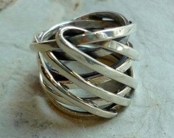 Sterling Silver Ring, Silver Wire Wrapped Ring, Wide Silver Ring, Statement Silver Ring, Woven Lines Ring, Chunky Ring, Modern Ring K#403