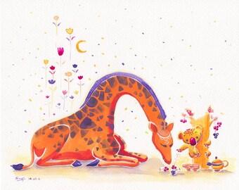 Elegant Giraffe Print Koala Print - Koala's Multi-berries Oak - 8x10