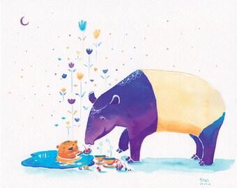 Tapir Print - Tapir's Mystical Encounter - 8x10 - Children Print, Cute Tapir