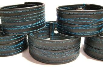 Summer Sale! 15% off - Turquoise Thin Bike Tube Cuff Recycled Teal Aqua
