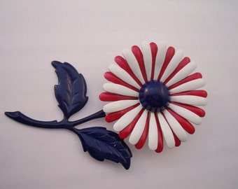 Flower pin, red, white and blue enamel flower pin