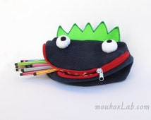 Monster toy bag Handmade funny pouch Art storage for kids Back to school- READY TO SHIP