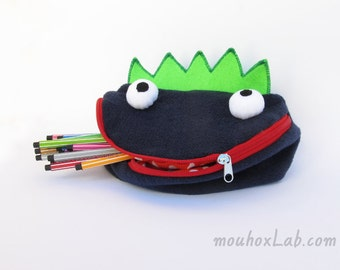 Monster toy bag Handmade funny pouch Art storage for kids Back to school-  MADE TO ORDER