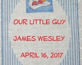 Baby Quilt Label - Blue Pillow Ticking, Custom Made & Hand Embroidered