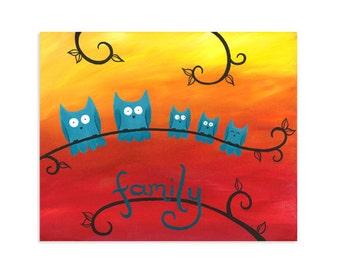 Owl Family Print