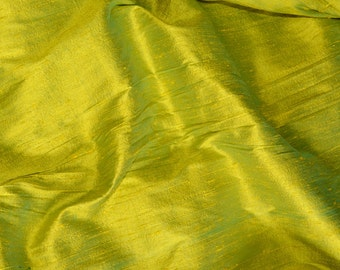 Silk Dupioni in Yellow - Cyan - Fat Quarter - D 277