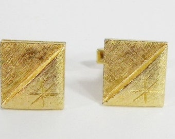 60s Vintage Etched Gold Tone Cufflinks