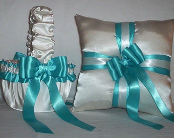 White Satin With Turquoise  Ribbon Trim Flower Girl Basket And Ring Bearer Pillow Set 3