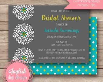 Chrysanthemum Bridal Shower Invitation, Chrysanthemum Bridal Shower Invite, Printable Chrysanthemum Bridal Shower Invite in Gray, Lime, Teal