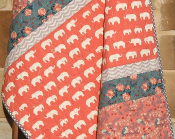 SALE Baby Quilt, Girl Modern Blanket, Nursery Bedding, Birch Organic Fabrics, Crib Quilt, Coral Mauve Pink Navy Blue, Elephants Flowers