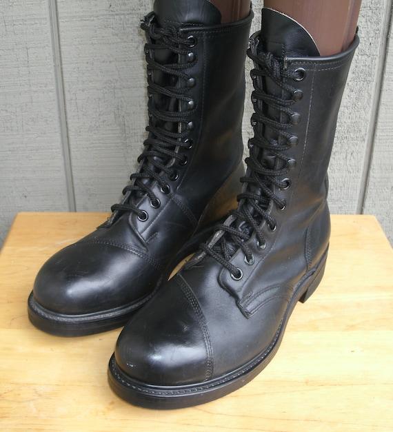 Vintage Men's 90's Black Leather Military Boots Combat