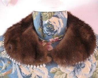1940's Mink Fur Collar, Sweater collar with Rhinestone