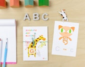 ABC Block Zoofufu Wall Cards // Alphabet Kids Wall Art Nursery School Room Decor Animal Flash Cards // Set of 27