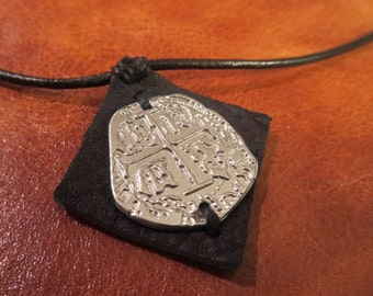 Silver Pirate Coin Necklace Shiny or Antique Finish Doubloon / Piece of Eight / Spanish Escudo / Pirate Medallion - Ren Faire / LARP