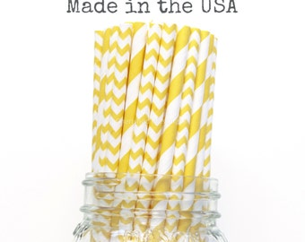 Paper Straws, Yellow Paper Straws, Chevron, Stripe, Wedding, Baby Shower, Kids Birthday Party, Princess Party, Table Setting, Paper Goods