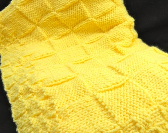 Yellow, Hand knitted baby blanket, also in a variety of colors.