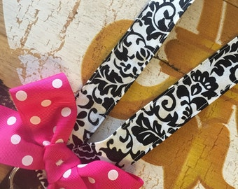 Preppy Damask Polka Dot LANYARD with BOW ticket holder Cruise ID
