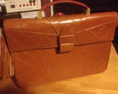 SALE French Helene Angeli Quilted Chevron Leather Briefcase Satchel Handbag