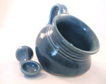 Salt Pig or Cellar with Spoon - Handmade Kitchen Pottery - Cooking and Serving - Glazed in Variegated Teal