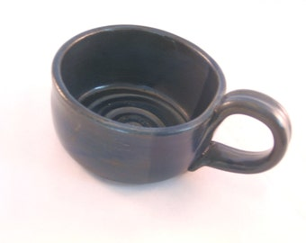 Shaving Mug with Ridges for Good Soap Lather, Comfort Shave - Handmade Pottery Glazed Black with shades of Navy Blue