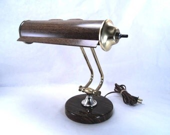 Faux Wood Finish Piano Music Lamp Banker Desk Working Vintage 60s