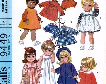 "McCall's 9449 Vintage 60s Wardrobe For Chubby Baby and Toddler Dolls Sewing Pattern - Uncut - Size Small 12""-16"" Height"