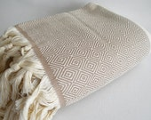 Shipping with FedEx - Diamond M2 - Tablecloth, Sofa throw, Picnic blanket, Beach blanket, Bedcover - Bathstyle - SOFT - Beige