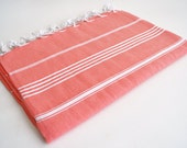 Shipping with FedEx - Classic - Beach blanket, Picnic blanket, Sofa throw, Tablecloth, Bedcover - Bathstyle - Coral