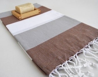 Shipping with FedEx - Turkish BATH Towel - Classic Peshtemal - Beach, Spa, Swim, Pool Towels and Pareo - Gray - White - Brown
