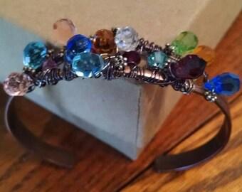 Mixed Crystals Bronze Cuff Fortune Teller Bracelet