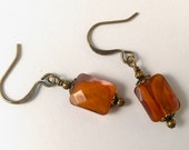 Antiqued Brass Earrings With Square Faceted Amber Orange Brown Glass Rectangle Drops