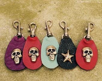 Leather Zipper pull Bag charm with heavy skull rivet or star - Laurel Dasso