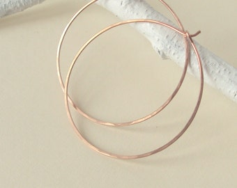 Rose Gold Hoop Earrings, Hammered Large Hoops, 1.5 inch or 2 inch Hoops