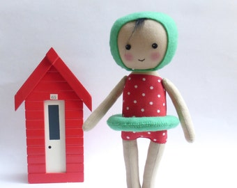 cloth doll in swimming costume, swimming figure, swimming art doll, red polka dot costume