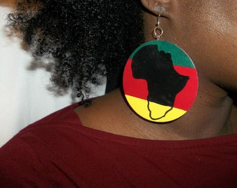 "African Africa shaped natural hair afro Rasta Jamaica love and hip hop urban map flag continent soul earring red yellow green black 3"" round"