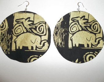 "Africa African authentic ethnic ankara tribal batik elephant animal print fabric circle big natural afro earring metallic gold black 3"" gift"