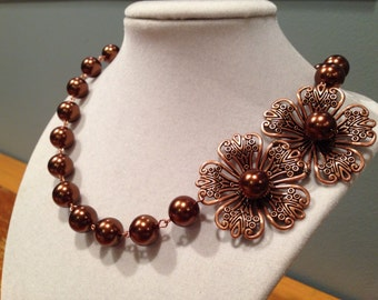 Kimberly Dogwood Necklace - Chocolate Brown and Copper