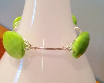 SALE!! Four Stone Lime Green Wire Wrapped Bangle