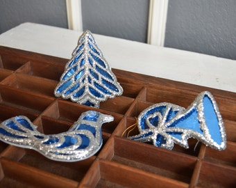 Set of 3 Vintage Christmas Tree Ornaments Silver Blue Glitter Tree Horn Bird Animal Glitter Ornament Vintage Ornament Display Wreath