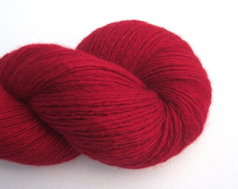 Heavy Lace Weight Cashmere Silk Blend Recycled Yarn, Red, Lot 070315