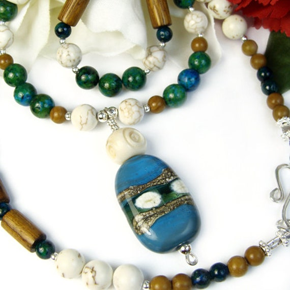 Jasper Wood Necklace, Lampwork Focal, Blue Green Brown, Nature Inspired, Earthy, Handmade
