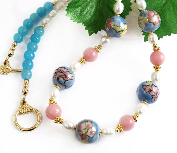 Blue Pink Flower Bead Necklace, Freshwater Pearls, Handmade Jewelry