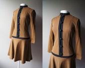 Vintage Mod Dress Low Waist Dress Chocolate Brown Dress Long Sleeve Dress Medium Dress Stretchy Dress Mad Men Dress Mod Dress Secretary