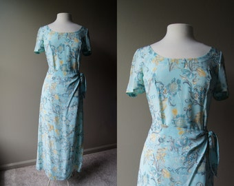 Vintage ESCADA Light Aqua Blue Silk Wrap Dress - Small