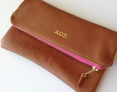 Monogrammed Cognac Brown Leather Foldover Clutch - Bridesmaids clutch, Gifts for her, Custom Clutch
